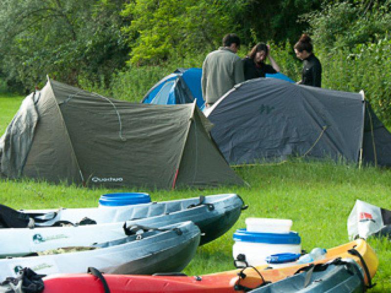bivouac et canoe sur l'Ariège